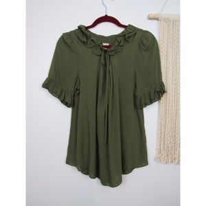 Anthropologie Odille Green Ruffle Top